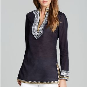 Tory Burch Woven Embroidered Tunic Top
